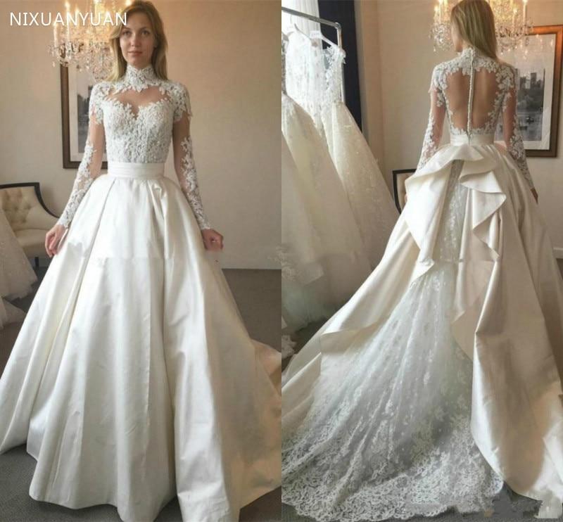 Plus Size Wedding Dresses 2020 High Neck Wedding Party Dress Vestido De Noiva Vintage Lace Bridal Dress Robe De Mariee Illusion