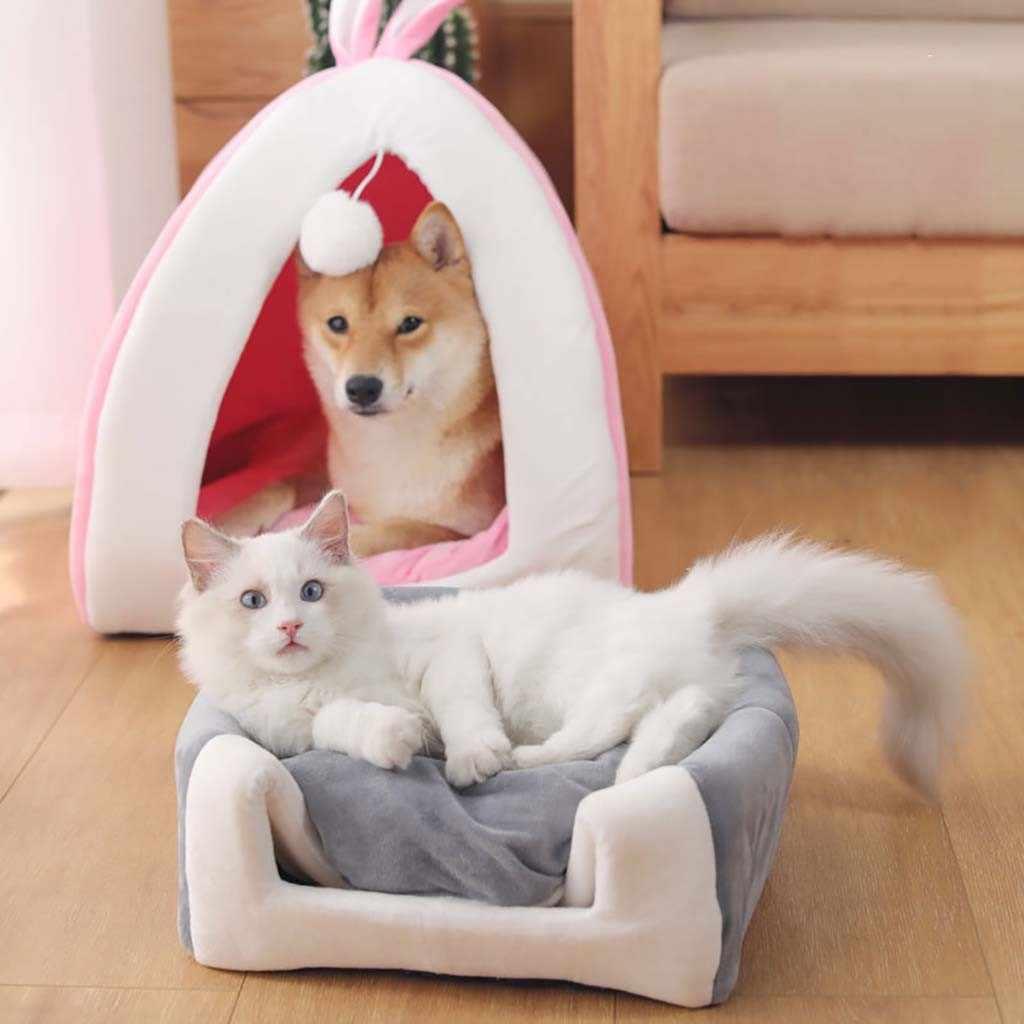 Anjing Peliharaan Kucing Tenda Rumah Kennel Musim Dingin Hangat Tempat Tidur Lembut Lipat Tidur Mat Padfor Anjing Kucing Hewan Kecil Produk Hewan Peliharaan j50