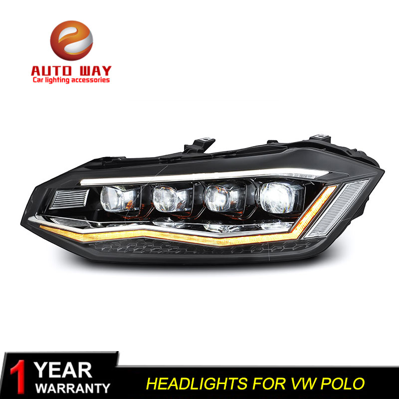Car Styling Head Lamp Case for <font><b>VW</b></font> <font><b>Polo</b></font> <font><b>LED</b></font> <font><b>Headlights</b></font> <font><b>Polo</b></font> <font><b>Headlight</b></font> 2019 New <font><b>Polo</b></font> DRL <font><b>H7</b></font> D2H Hid Option Angel Eye Bi Xenon Beam image