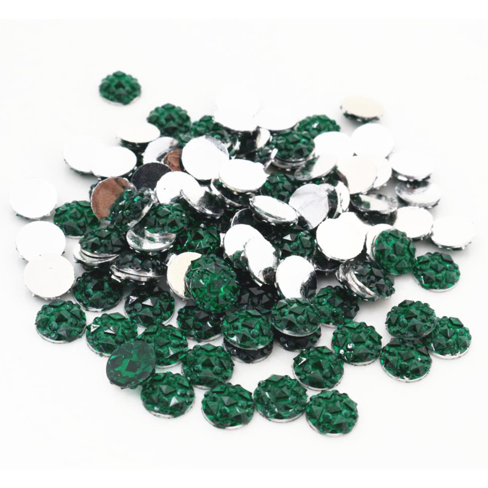 New Fashion 8mm 40pcs Green Colors Natural Baroque Style Flat Back Resin Cabochons For Bracelet Earrings Accessories-V2-27