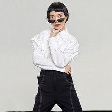 Blanca arrugada [EAM]-blusa de forma clásica párr mujer de camisa holgada de manga larga con solapa nueva moda de primavera y