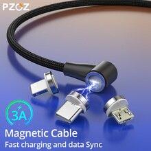 Магнитный кабель PZOZ 90 градусов usb c Micro usb type C для быстрой зарядки, магнитное зарядное устройство Microusb type-C для iphone Xs MAX xiaomi usb-c