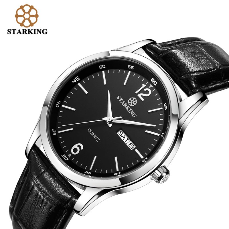 STARKING Men Dress Japan Imported Quartz Movement New Fashion Genuine Leather Strap Famous Brand Black Wrist Watch BM0948