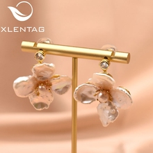 XlentAg Original Handmade Natural Fresh Water Pearl Flower Drop Earrings For Women Wedding Jewelry orecchini donna GE0712 xlentag original design handmade natural fresh water pearl flower drop earrings for women wedding luxury jewelry kolczyki ge0713