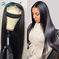 Rosabeauty 4X4 парик с фронтальной шнуровкой 28 30 дюймов прямые бразильские человеческие волосы Remy фронтальные парики предварительно сорванные дл...