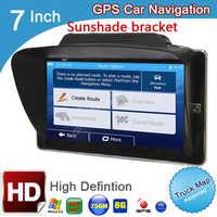 Navegador GPS con cámara de visión trasera y parasol para camión, pantalla de 7 pulgadas, DDR 256M, 8GB, 800x480 MTK, windows ce6.0, gps para coche