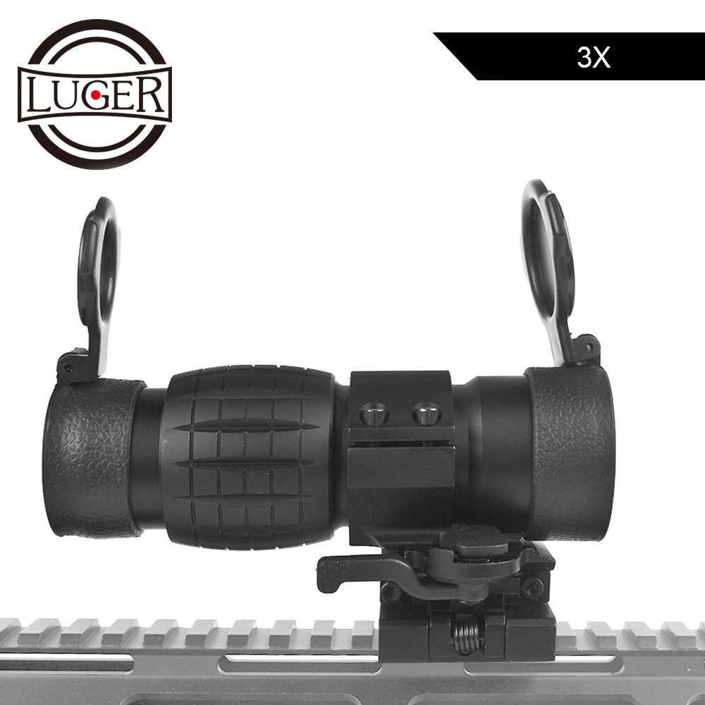 LUGER 3x Magnifier Optics Sight Riflescope Tactical Red Dot Sight Scope With Side Flip Picatinny Rail Mount For Airsoft Air Gun