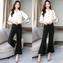 Spring and Summer new style Ladies temperament two-piece suit chiffon top + flare pantsf ashion set
