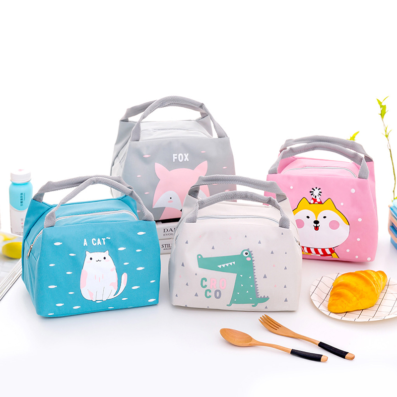 Cartoon Portable Lunch Bag Insulated Children's Snack Bento Picnic Box Tote Container Thermal School Food Organizer Pouch Item