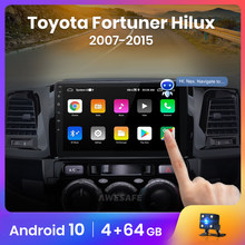 AWESAFE Control de voz PX9 2Din Android 10 para Toyota Fortuner Hilux 2007, 2008, 2012, 2014, 2015 Radio de coche reproductor Multimedia GPS