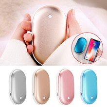 4000/5200 MAh Lucu USB Rechargeable LED Electric Hand Warmer Heater Praktis Perjalanan Lama Mini Pocket Hangat pemanasan Produk(China)