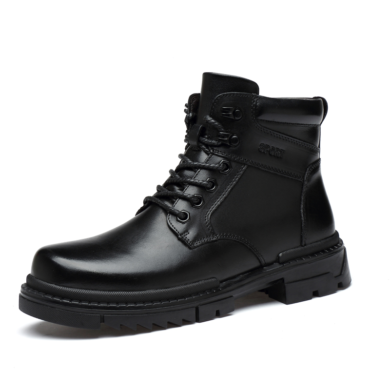 New Hot Men Military Combat Boots Genuine Leather Working Safety Boots Men Winter Inside Fur Mens Boots Black Big Size Casual Shoes