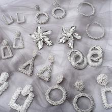 2020 mode Große Aussage Ohrringe Geometrische Silber Farbe Schmuck Frauen Big Baumeln Hängen Mode Moderne Weibliche Ohrring cheap BICUX Zink-legierung CN (Herkunft) TRENDY Earrings Tropfen-Ohrringe GEOMETRIC Metall Fashion Earrings Statement Earrings