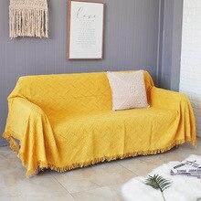 Manta de sofá de hilo de punto de algodón bohemio toalla suave cama a cuadros Vintage tapicería de decoración del hogar