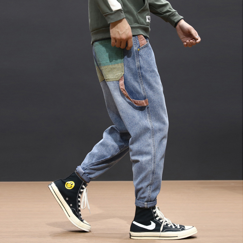 Autumn Newly Fashion Men Jeans Colorful Patch Pocket Designer Harem Pants Loose Fit Blue Black Streetwear Hip Hop Jeans Men