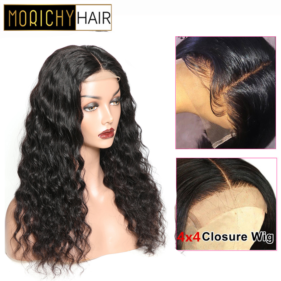 Morichy Loose Wave Wigs 4X4 Lace Closure Wig With Baby Hair Brazilian 100% Non-remy Real Human Hair Natural Black For Women