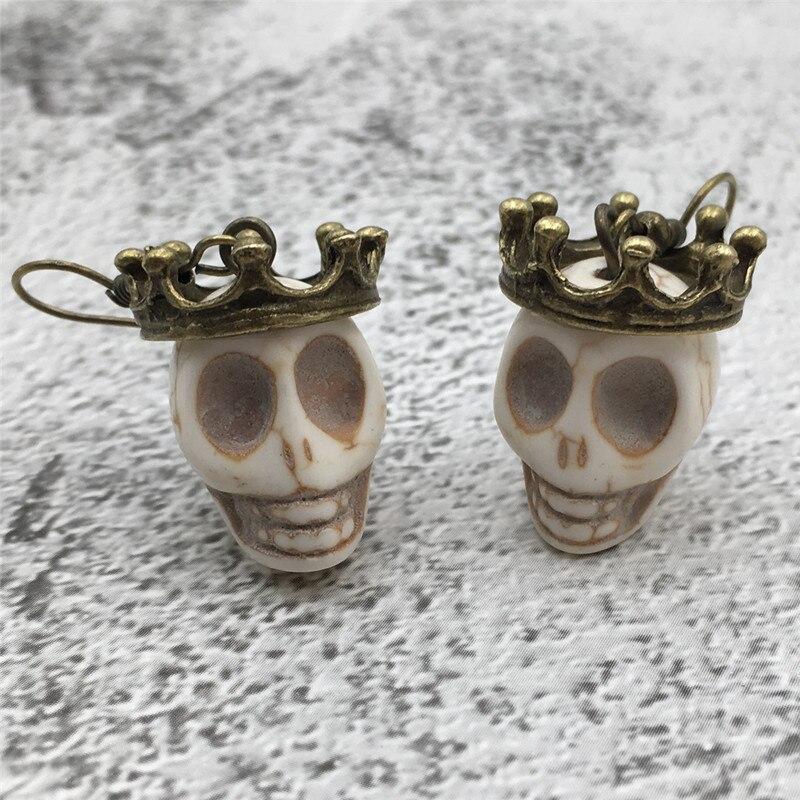 Skull Earrings Biker-Rocker Crowned Cosplay Halloween Goth Vintage for Her