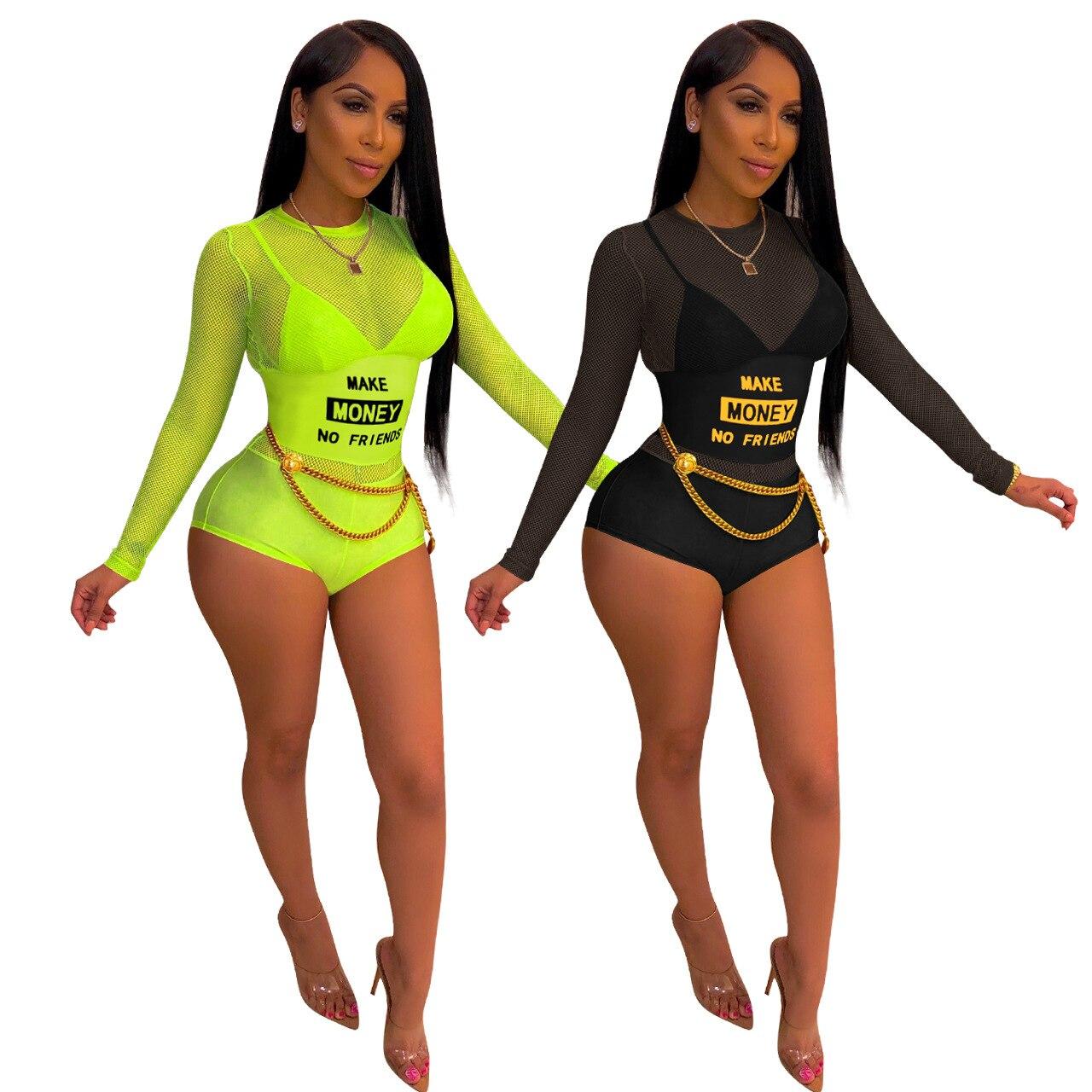 Echoine summer women sexy mesh see though make money no friends letter print open back bodysuit fashion swimsuit romper overalls