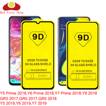 10Pcs/lot 9D Tempered Glass For Huawei Y5 Y6 Y7 Prime Y9 2018 Screen Protector GR3 GR5 2017 Y5 Y6 Y7 2019 cover film Movie 9H