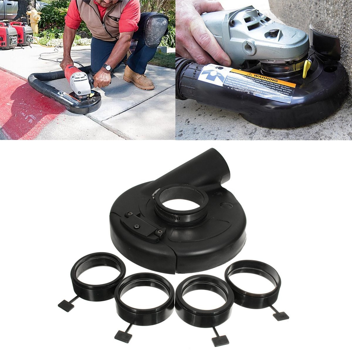 New Arrival 1PC 7 Inch Black Vacuum Dust Shroud Cover for Angle Grinder Hand Grind Convertible Top Quality