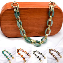 Circle Series Bag Strap for Women Mixed Gold Acrylic Resin Chain Ornament Accessories Retro Detachable Shoulder Handle Bag Parts