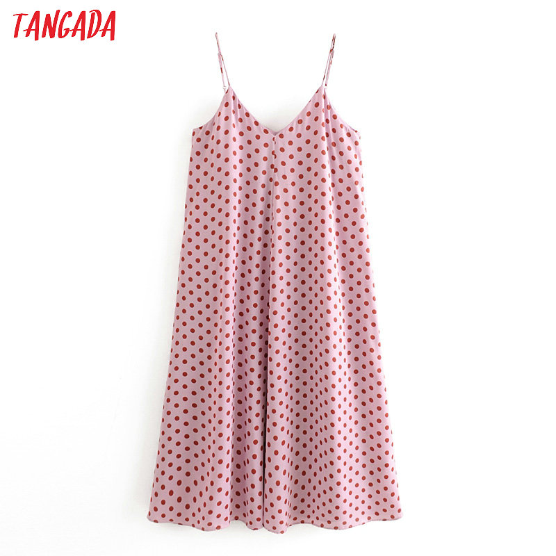 Tangada Fashion Women Pink Dots Print Summer Chiffon Dress Sleeveless Ladies Casual Midi Dress Vestidos 3H393
