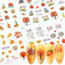 12 pièces automne Style curseurs deau pour ongles feuille dérable transfert deau autocollant pour ongles décalcomanies décoration conceptions manucure JIBN361 372