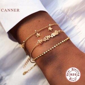 Canner mama amor pulseira 925 prata esterlina pulseira para mulher pulseras mujer pulseiras encantos prata ouro jóias braçadeira