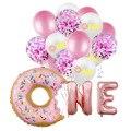 Чистый красный взрыв пончик один латексных воздушных шаров с возрастом 1 год; Крестильное платьице для малышей 1st на день рождения праздничн...