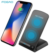 FDGAO 10W Quick Qi Wireless Charger For Samsung S10 S9 S8 Note 10 9 8 Fast Charging Stand Dock For iPhone XS XR X 8 Plus Airpods