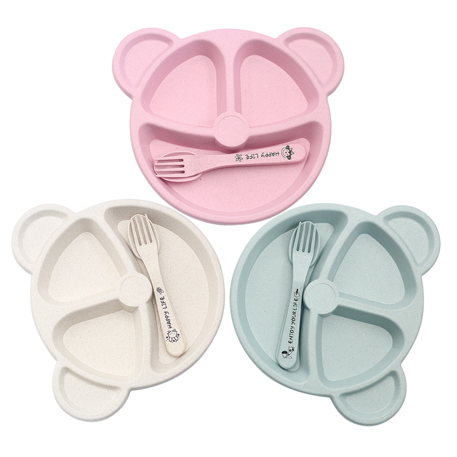 Baby Bowl+Spoon+Fork Feeding Food Tableware Set Cartoon Bear Kids Dishes Eating Dinnerware Anti-hot Wheat Straw Training Plate