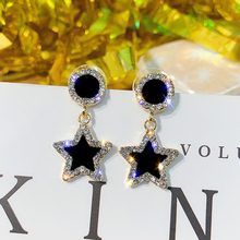 HOCOLE Fashion Black Crystal Earrings For Women Geometric Square Round Star Drop Dangle Statement Wedding Party Jewelry