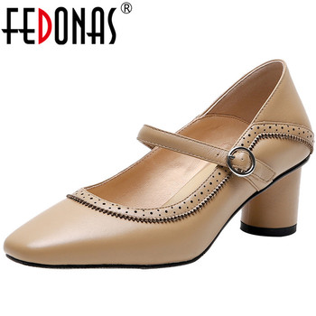 FEDONAS Women Genuine Leather Square Heels Elegant Hollow Decoration Slip On Pumps 2020 Spring Summer Basic Shoes Woman Size3-9