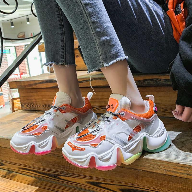 Nuevas zapatillas de deporte para mujer, zapatos vulcanizados cómodos a la moda con aumento de arco iris, zapatos informales con plataforma para Otoño e Invierno para mujer VT1353