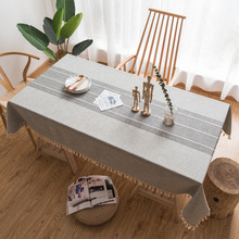 Cotton and linen tablecloth, wrinkle-free and fade-proof tablecloth, can be used for indoor and outdoor meals tassel table cover