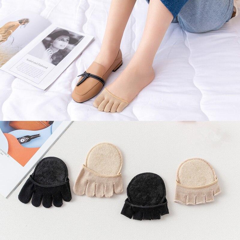 Women Soft Sponge Half Palm Anti-slip Lining Socks Open Toe Heelless Liner Socken Invisible Forefoot Cushion Foot Pad Sock