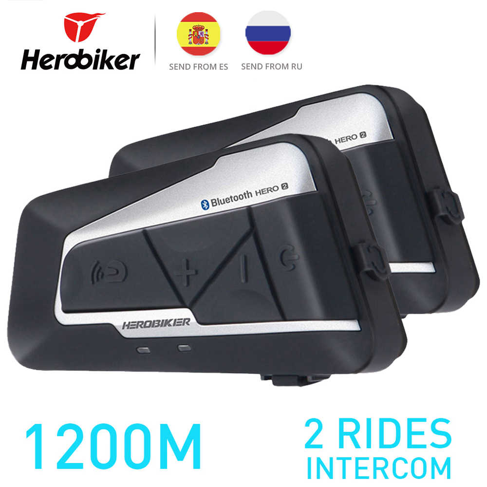 HEROBIKER 1200M Motor Intercom Helm Headset Helm Bluetooth Intercom Nirkabel Tahan Air Moto Headset Interphone 2 Wahana