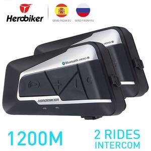 Image 1 - HEROBIKER 2 Sets 1200M BT Motorcycle Helmet Intercom Waterproof Wireless Bluetooth Moto Headset Interphone FM Radio for 2 Rides
