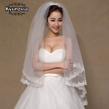 Kyunovia 2 Tier Bridal Veil Beautiful Ivory Cathedral Short Wedding Veils Lace Edge With Comb Bride Veils A00187 cheap Polyester Appliqued A0017 Two-Layer Elbow Length Veil Adult