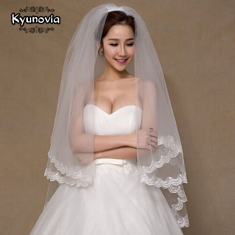 Kyunovia Bridal Veil Short Lace-Edge Cathedral Ivory Comb with A00187 2-Tier Beautiful