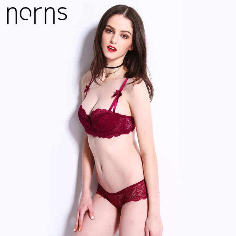 Norns New Half Cup Ultra-thin Lace Ladies Underwear Hollow Lace Embroidered Push Up Bras Women Plus Size Underwear Set