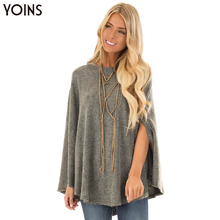 YONIS 2019 Autumn Winter Women Cape Blusas O Neck Soft Knit Cape Arm Holes Long Sleeves Hooded Coats Grey Blouse Capas Femininas grey round neck flared sleeves blouse