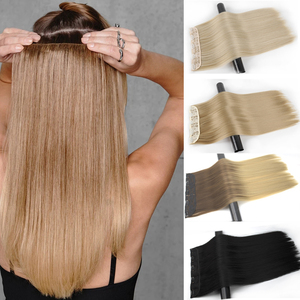 MERISI HAIR 5 Clips Synthetic Hair Long Straight Clip In Hair Extensions False Hair Black Hair Pieces for Women
