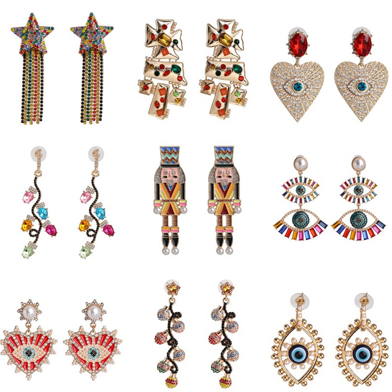 Juran Boho Evil Eyes Heart Drop Earrings 2020 New Handmade Gifts Shiny Long Dangle Crystal Earrings Jewelry Ethnic Bijoux