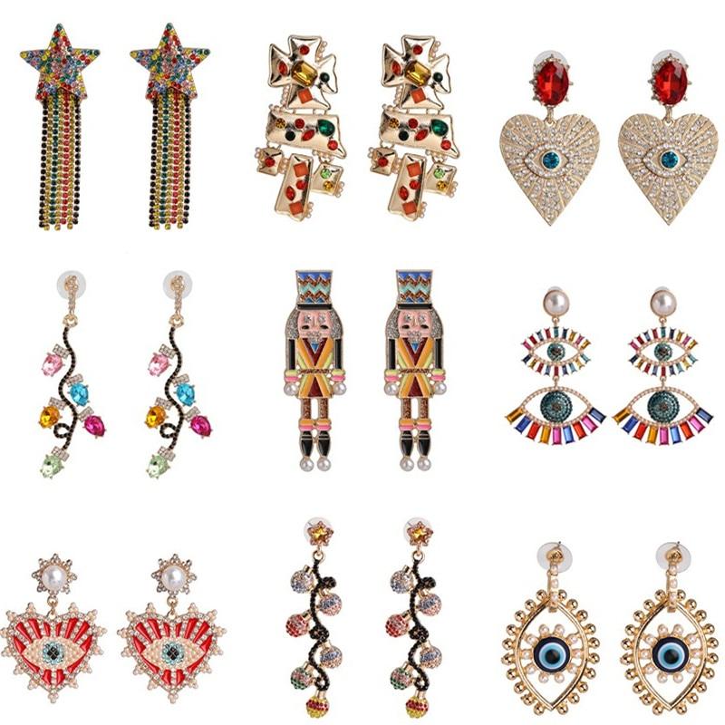 Juran Boho Evil Eyes Heart Drop Earrings 2020 New Handmade Gifts Shiny Long Dangle Crystal Earrings Jewelry Ethnic Bijoux