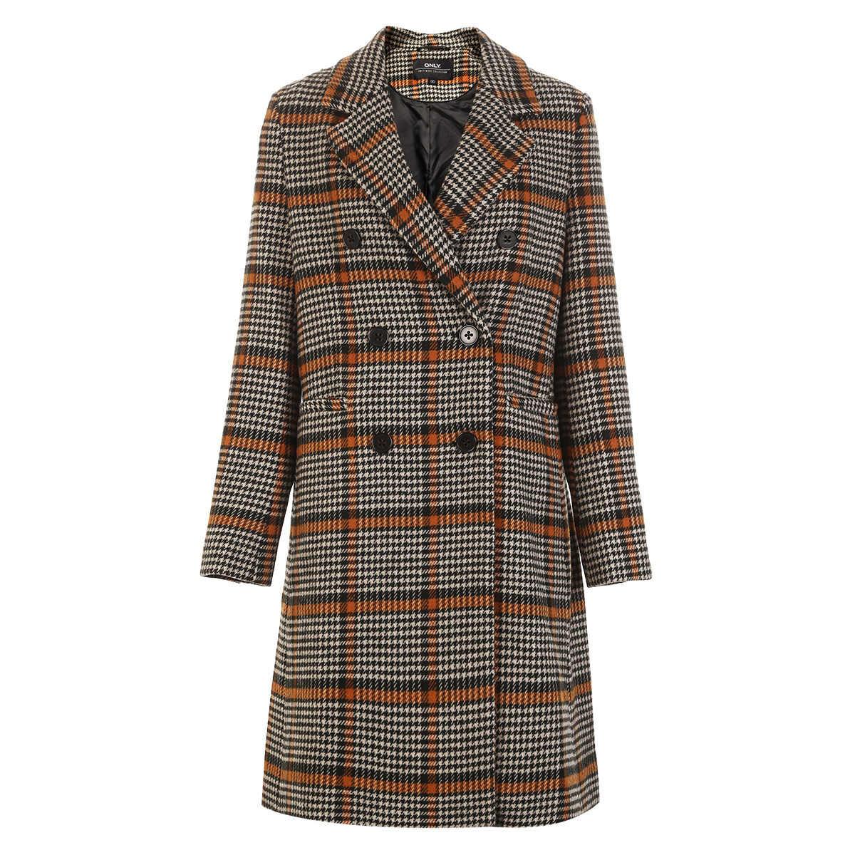 ONLY Mid-length Suit Collar Woolen Overcoat Women Wool  plaid coat| 11834S523