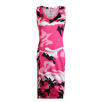 Sexy Sleeveless Streetwear Dress Women Casual Tank Dress O Neck Long Tops Camouflage Printed Dresses Plus Size 5XL Vestidos image