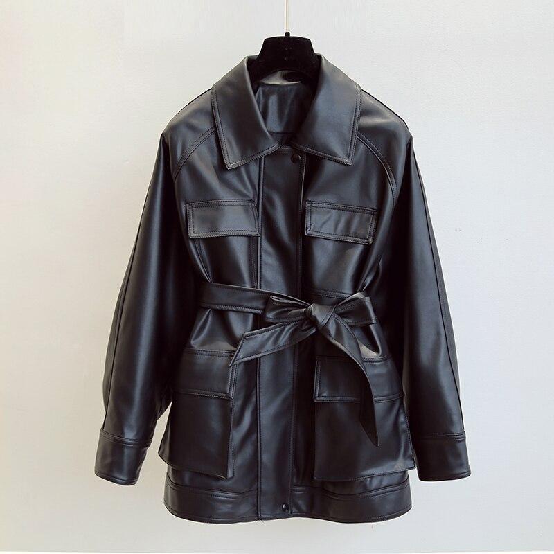 PU Coats Women Faux Leather Jackets Vintage Motor Biker Jackets Elegant Tie Belt Waist Pockets Buttons Coats