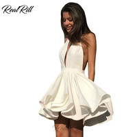 Real Rill Deep V Neck Halter Mini Homecoming Dresses Backless Satin A Line Short Cocktail Dress For Party
