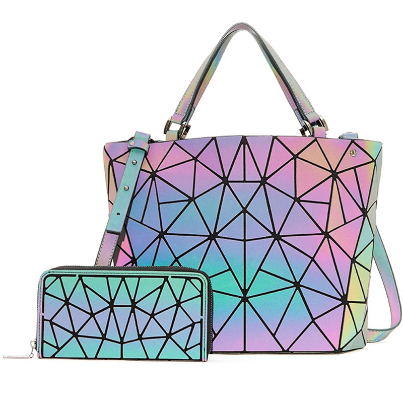 Set Bag Women's Diamond Geometric Deformation Tote Bag Irregular Folding Shoulder Bag Holographic Laser Luminous Bucket Bag